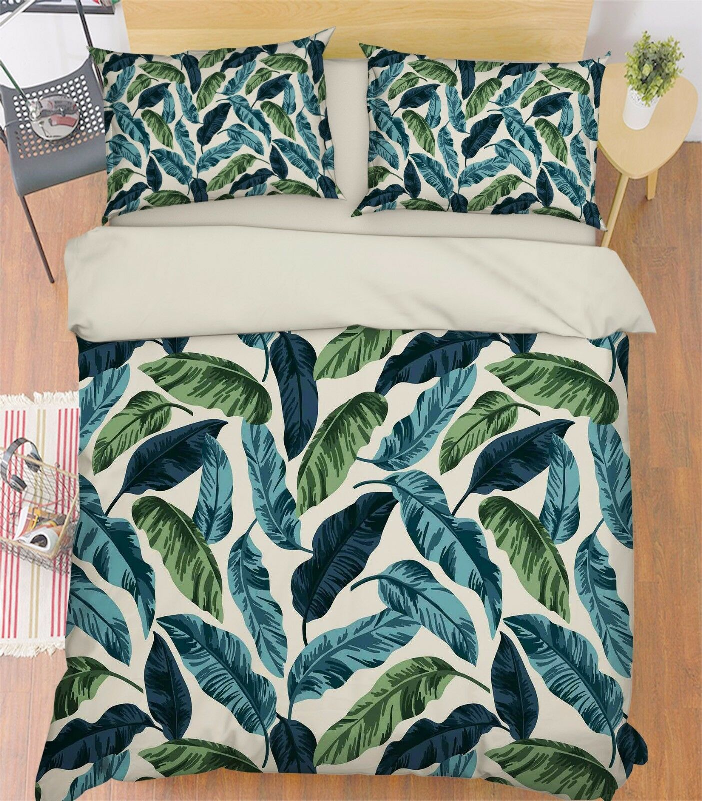 3D Blätter Grün 878 Bett Kissenbezüge steppen Duvet Decken Set Single DE Carly