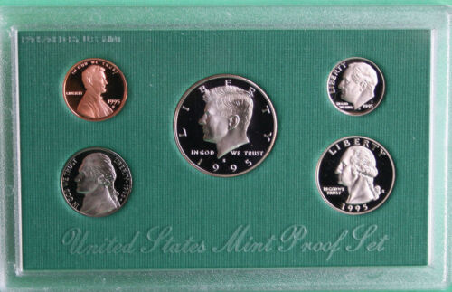 1995 S United States Mint ANNUAL 5 Coin Proof Set Original Box and COA