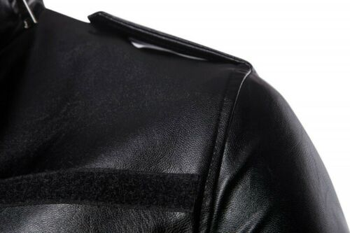Mens Slim Fit Leather Trench Coat Jacket Outerwear Motorcycle Biker Stand collar