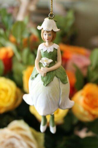 Blumenfee Elfe Glockenblume weiß Blüte Meander Figur Aufhänger 12,5cm NEU