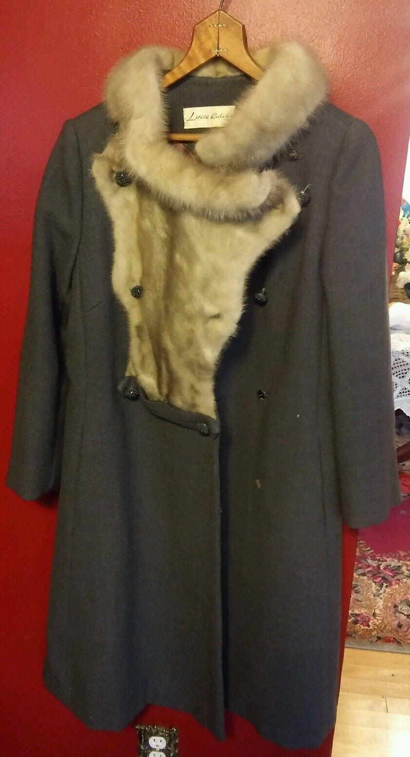 009 Beautiful Vintage Lillie Rubin Fur Collar Womans Long Coat Wool 5 Button