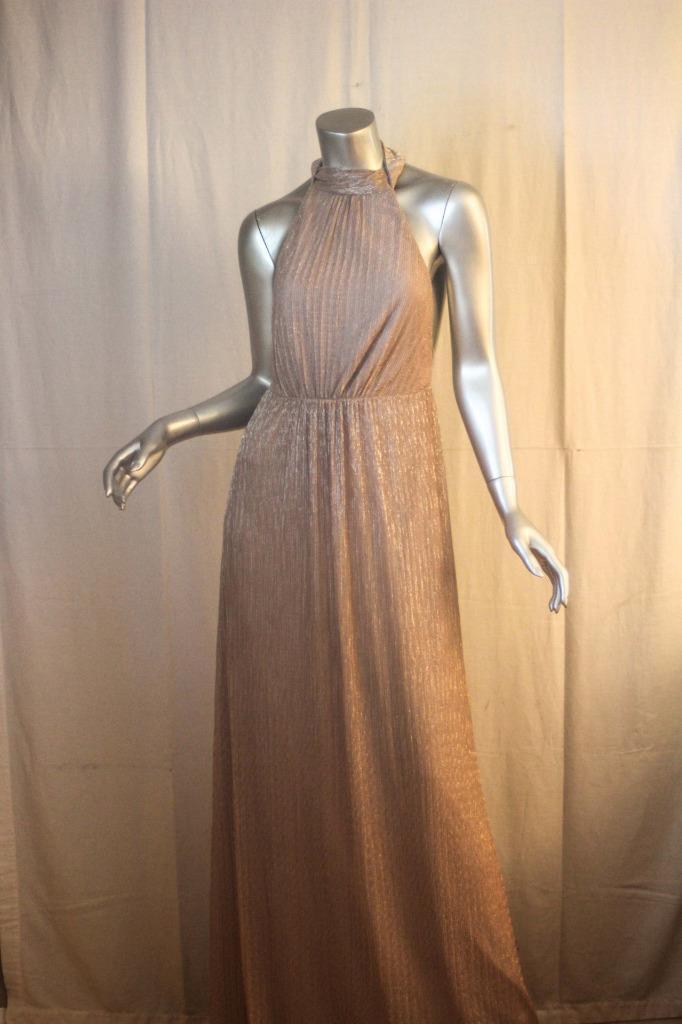 Womans SHOW ME YOUR MUMU Long Metallic bluesh Sleeveless Gown Dress Size L