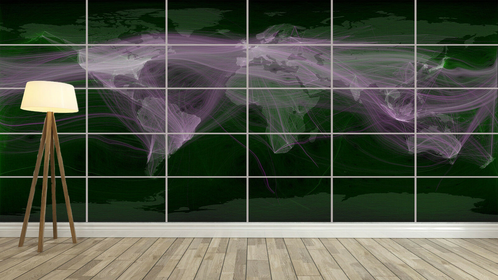 WORLD MAP HUGE Travel and Communications record Deco Salon 252cmX150 Large print