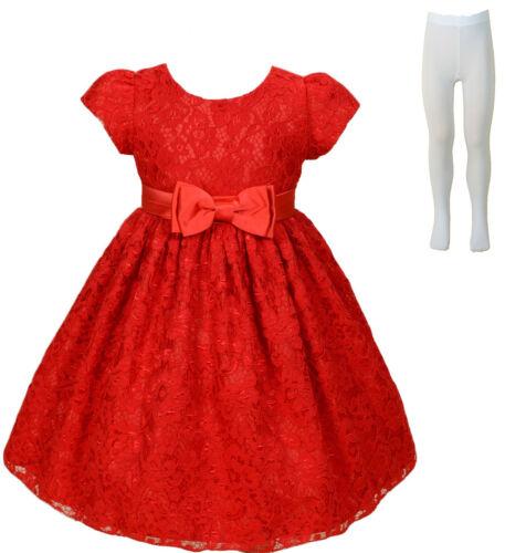 Neu Spitze Blumenmädchen Brautjungfer Party Kleid mit Strumpfhose Elfenbein