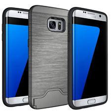 Credit Card ID Slot Kickstand Case Hard Cover For Samsung Galaxy S7 Edge - Gray