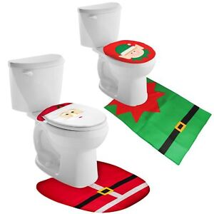 Image Is Loading Christmas Decoration Elf Santa Toilet Seat Cover Bathroom