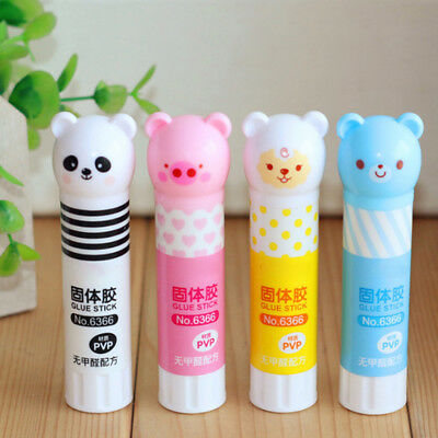 2 Pcs Cute Bear Repositionable Solid Glue Sticks for Paper Card School Office