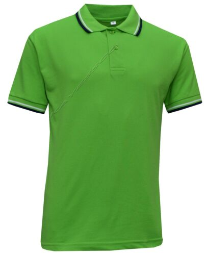 2XL Mens Short Sleeve Polo Shirt Double Tipping Casual T-Shirt Cotton Mix S