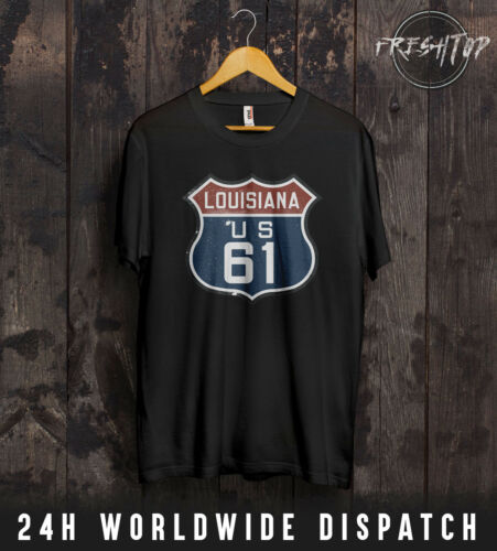 US Route 61 66 Louisiana T-Shirt Highway-Route New Orleans Great River Straße