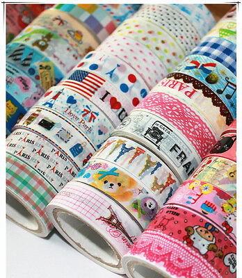 10PCS 1.5cm×10M DIY paper Sticky Adhesive Sticker Decorative Washi Tape Kawaii