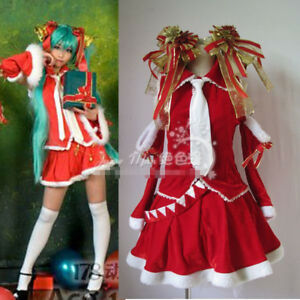 Hatsune Miku Christmas Outfit.Details About Vocaloid Hatsune Miku Christmas Dress Red Christmas Cosplay Costume Free Ship