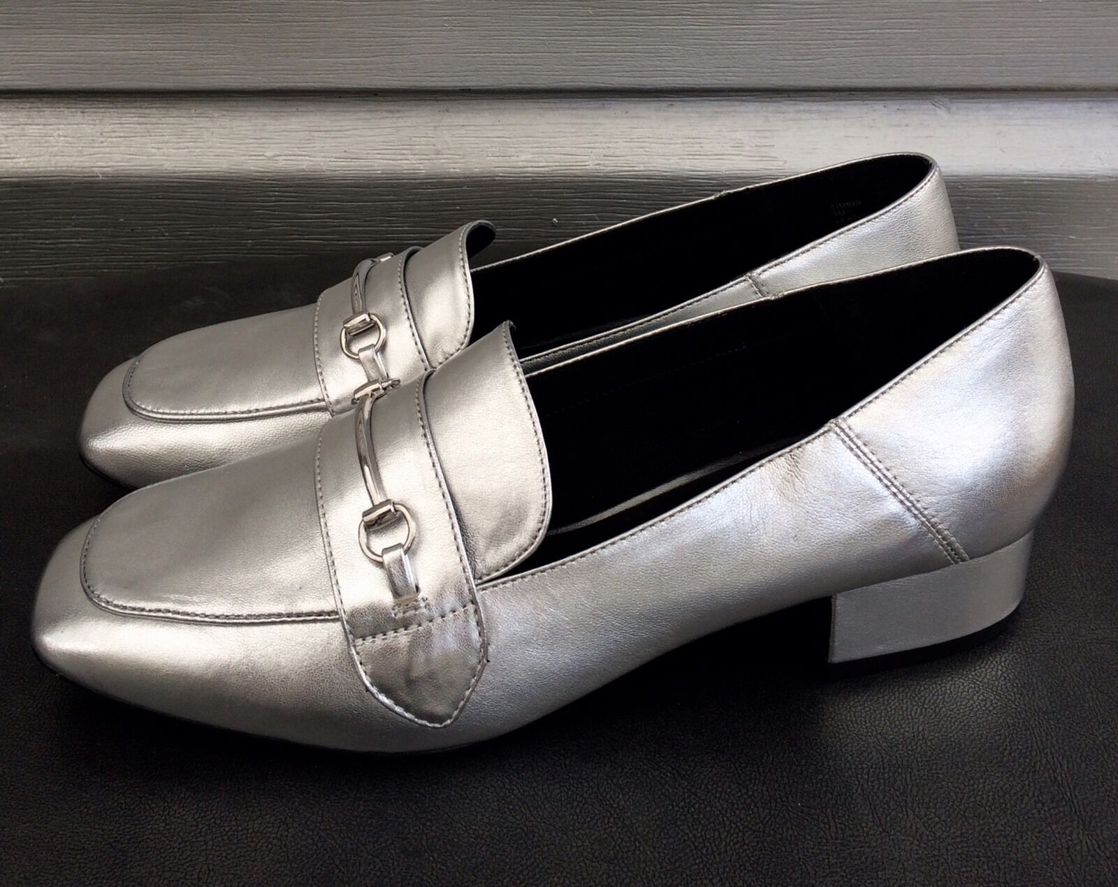 STEVE MADDEN Silver Leather Horsebit Timbir Slip On Loafers