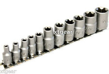 11 pc Torx Star Bit Female E Socket Set E4, 5, 6, 7, 8, 10, 12, 14, 16, 18, 20