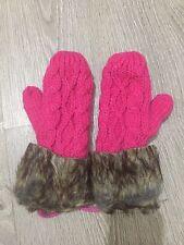 Winter Knitted Wool Mittens Hook Flower Fur Fluffy Halter Wrist Glove Pink