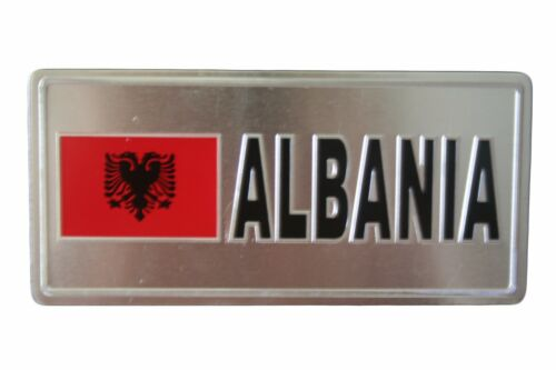 6 X 3 INCH ALBANIA  FLAG-SILVER LICENSED STICKER FLAG PLATE..SIZE