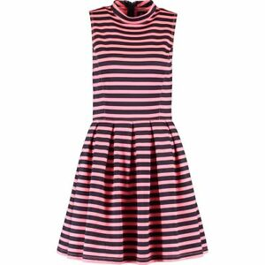 SUPERDRY-Neon-Pink-and-Black-Striped-Skater-Dress-rrp-54-99-size-Small