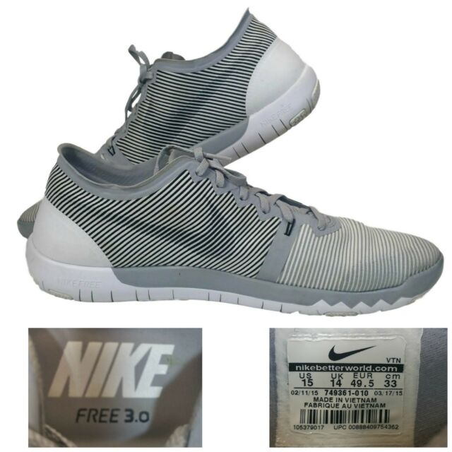 online retailer 5569c 54fcc Nike Free 3.0 V4~Trainer~Men s 15 M Shoes~Sneakers Wolf Grey White
