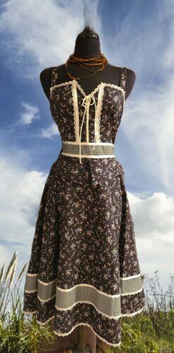 Vintage 70's Gunne Sax Black Calico Corset Prairie