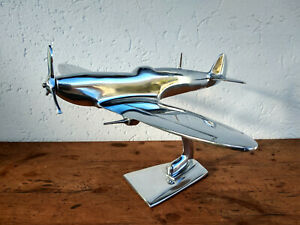 Avion-Spitfire-aluminium-massif-poli-gros-modele-longueur-31cm-envergure-36cm