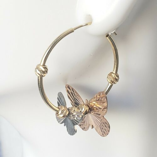 14k Gold Diamond Cut papillon Boucles d/'oreilles Créoles