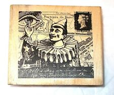 Stampers Anonymous French Clown rubber stamp wood mounted M2-859 Collage art