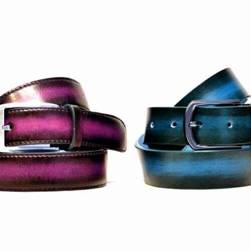 Brown Purple Men Women Leather Belt Formal or Denim style hand patina