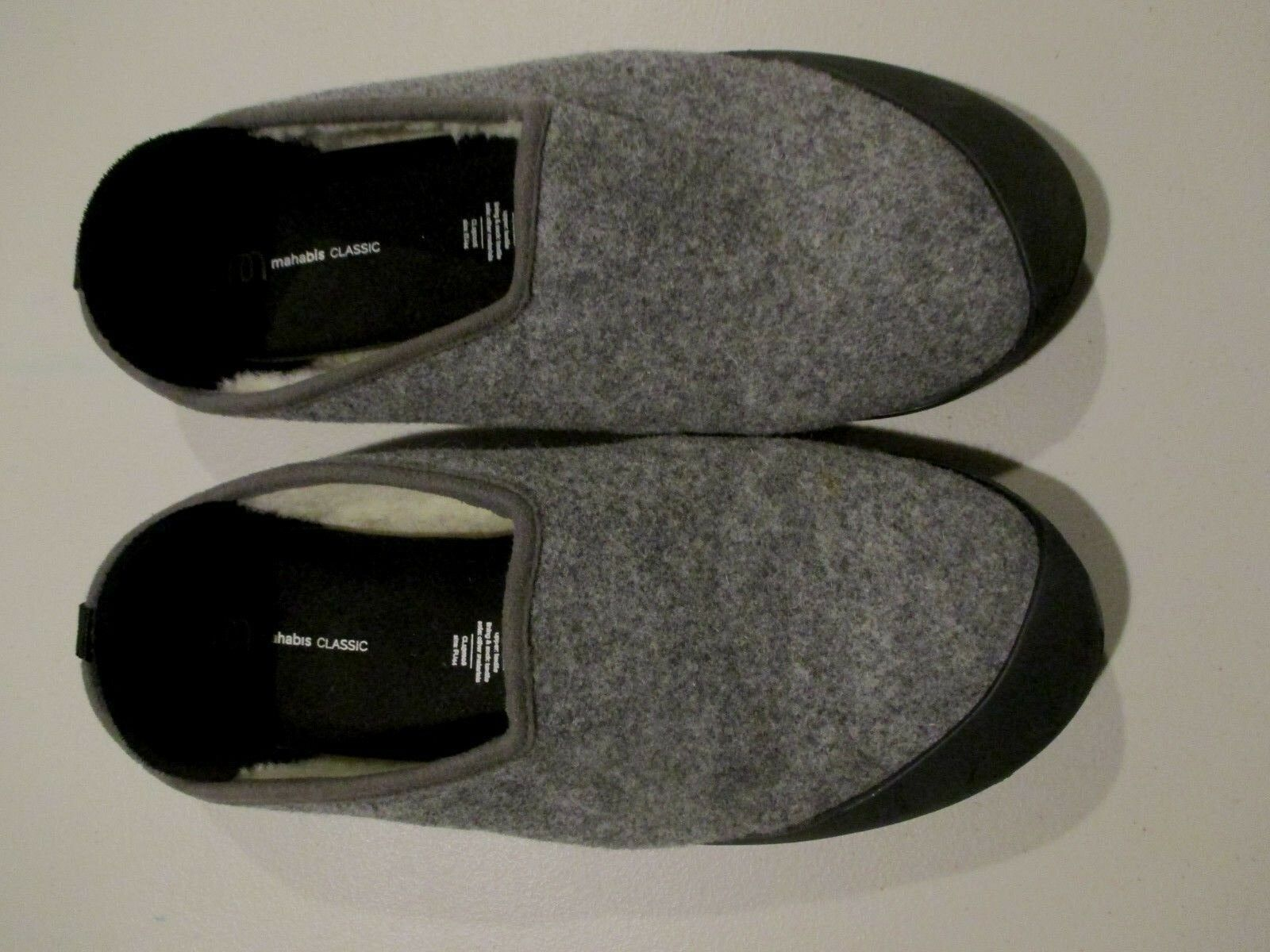 Mahabis CLASSIC Men's Wool Slippers With Removable Rubber Sole Sz: /US 10.5