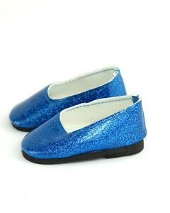 Royal-Blue-Bright-Glitter-Slip-on-Flats-Shoes-fits-American-girl-dolls