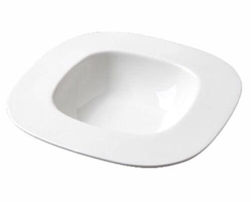 Lot de 2 blanc pur Large Monture Carré Pasta PLAQUES Assiettes à pâtes en porcelaine 25.5 cm