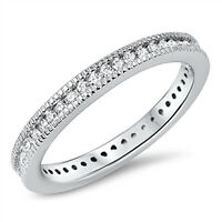 Sterling Silver 925 Vintage Antique Women's Eternity Wedding Band Ring Size 4-10