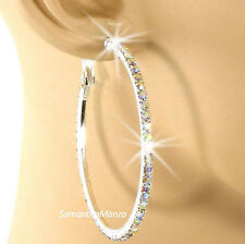 "2.2"" Pave Rainbow Aurora Borealis Crystal Rhinestone Cz Hoop Dangle Earrings"