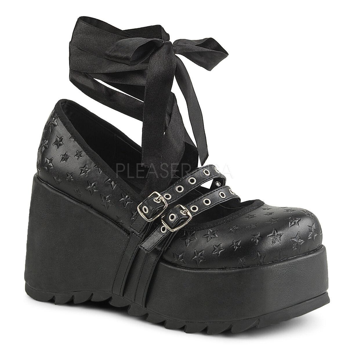 Gótico Punk de escena - 20 Casual Cuña Mary Jane Zapatos De Plataforma Con Cordones estrellas en relieve