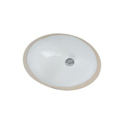 """Ez-Flo 34008 China Undermount Lavatory Sink 17/""""X14/""""  Oval White"""