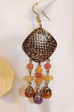 Ohrhänger NEU Ohrringe gold Perlen elegant lang groß Retro Vintage braun lila