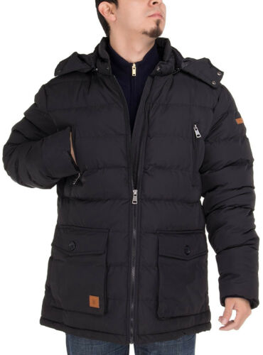 Luciano Natazzi Mens Thermal Padded Down Jacket Removable Hood Puffer Parka Coat