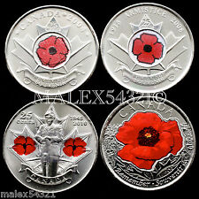 """2004-2008-2010-2015 REMEMBRANCE DAY """"POPPY"""" SET UNCIRCULATED (4 COINS)"""