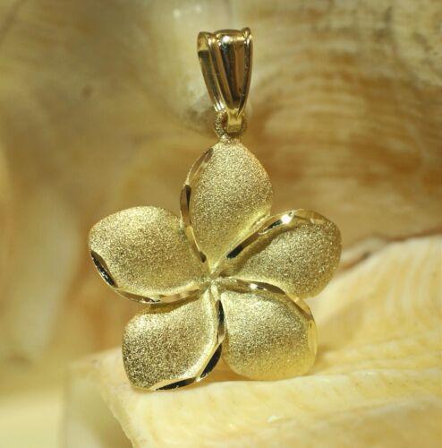 19mm Hawaiian 14k Yellow Gold DC Diamond-Cut Matted Plumeria Flower Pendant #2