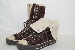sneakers for cheap a3ede baa48 Details zu CONVERSE CHUCKS ALL STAR high Stiefel Fell gefüttert braun  Wildleder 37,5 UK 5