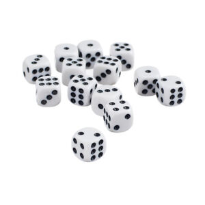 50pcs Opaque Blank Six Sided Dice D6 D/&D RPG Party Game Dices Red /& White