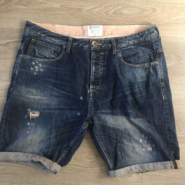 2019 Nuovo Stile 38 Girovita Burton Menswear Effetto Invecchiato Vernice Splatter Pantaloncini Di Jeans Roll Alza Rip Acquista Sempre Bene