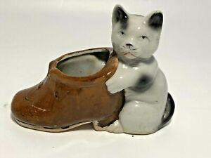Vintage Cat Kitten Boot Shoe Ceramic Planter Made in Japan See Pics Make Offer!
