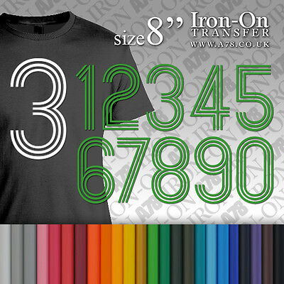 "Iron-on Plain Solid SPORT Numbers Transfer Size 8/"" Vinyl for T-Shirt Football"