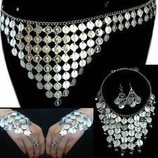 Bauchtanz Belly Dance Sklavenarmband Münzengürtel Kette Ohrringe Silbermünzen