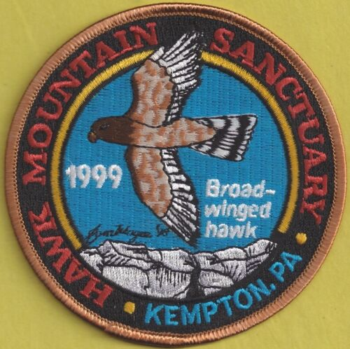 """Details about  /Pa Pennsylvania Fish Game Commission 1999 Hawk Mt 4/"""" Broad-Winged Hawk Patch"""