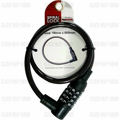BIKE BICYCLE LOCK CYCLE LOCK 4 DIGIT COMBINATION SPIRAL STEEL CABLE 650mm
