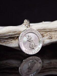 Sterling-Silber-925-ST-Christopher-Protect-Us-Pendant-18-034-Halskette-Geschenkbox-UK