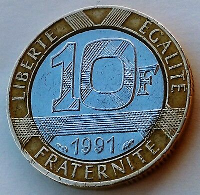 Spirit of Bastille France 1989-10 Francs Bi-Metallic Pre-Euro Coin ERROR