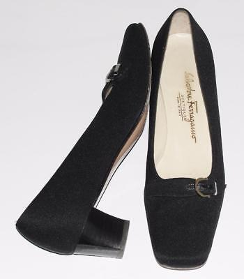 SALVATORE FERRAGAMO~BLK~CANVAS COVER *GANCINI BUCKLE* LOW HEEL PUMPS SHOES~7 2A