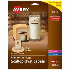 Avery Scallop Oval Labels For Printer 2 14 X 1 18 525 Kraft Brown Labels