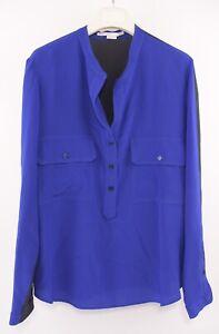 STELLA-MCCARTNEY-Women-039-s-100-Silk-Shirt-Top-Blue-Black-size-UK-6-IT-38